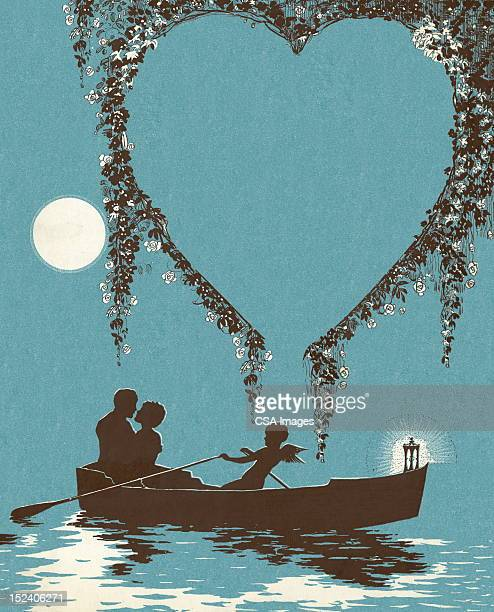 romantic boat ride - cherub stock illustrations
