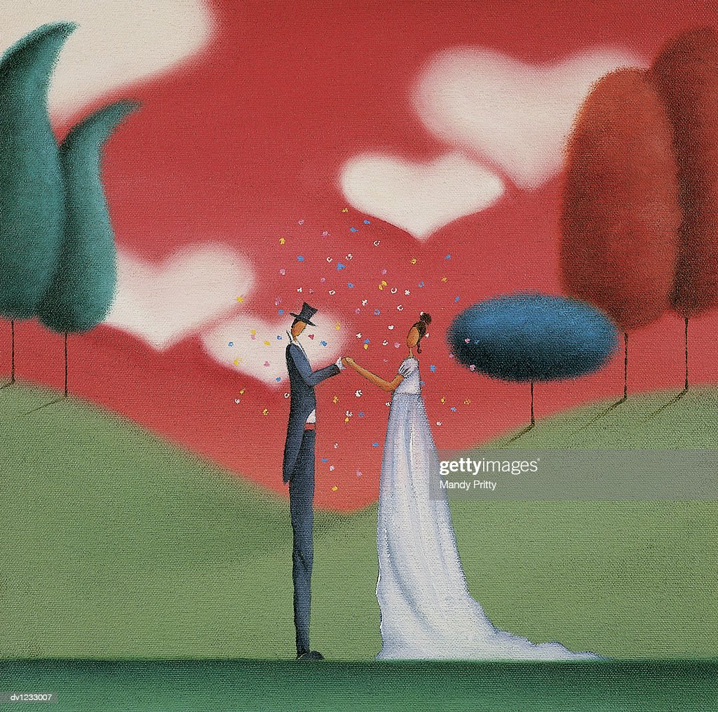 Romantic Bride and Groom Standing Face to Face : Stock Illustration