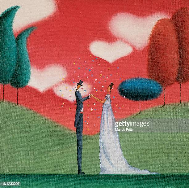 romantic bride and groom standing face to face - mandy pritty stock illustrations