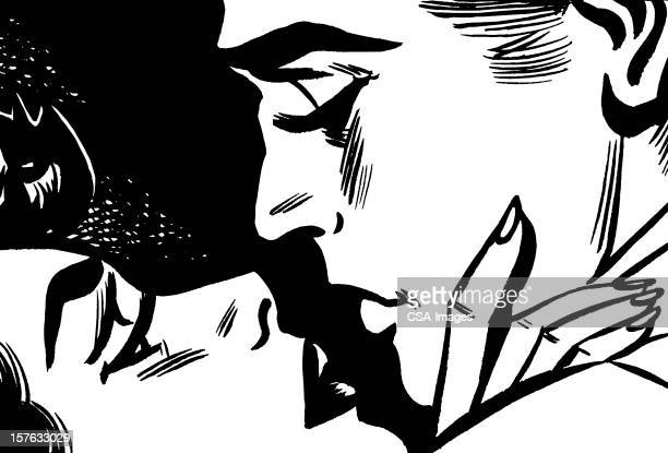 romantic couple about to kiss - kissing on the mouth stock illustrations, clip art, cartoons, & icons