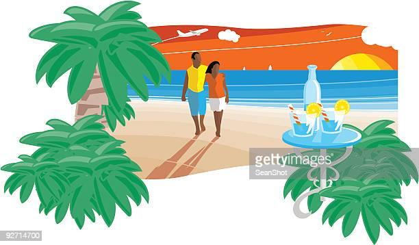 romantic sunset beach - honeymoon stock illustrations, clip art, cartoons, & icons