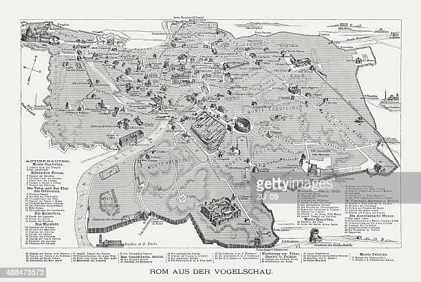 rome in the bird's eye view, published in 1878 - castel sant'angelo stock illustrations