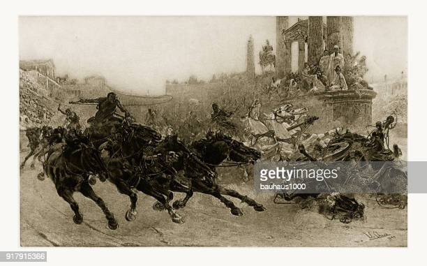 Rome Under Trajan - A Chariot Race Engraving