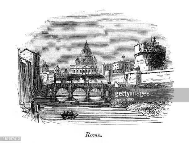 ilustrações de stock, clip art, desenhos animados e ícones de rome vintage gravação - st. peter's basilica the vatican