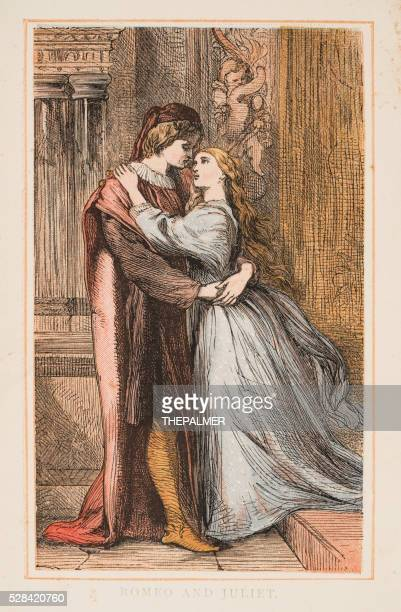 romeo and juliet by shakespeare engraving 1870 - romeo stock illustrations
