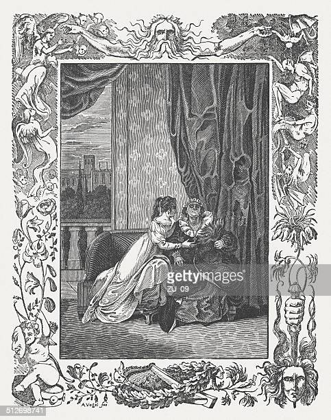 romeo and juliet by william shakespeare, wood engraving, published 1838 - romeo stock illustrations