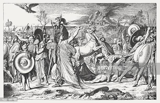 romulus' victory over acron by frech painter ingres, published 1878 - mythological character stock illustrations, clip art, cartoons, & icons