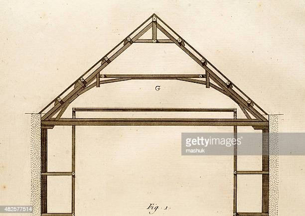 roof and attick technical 18th century drawing - {{relatedsearchurl('county fair')}} stock illustrations, clip art, cartoons, & icons