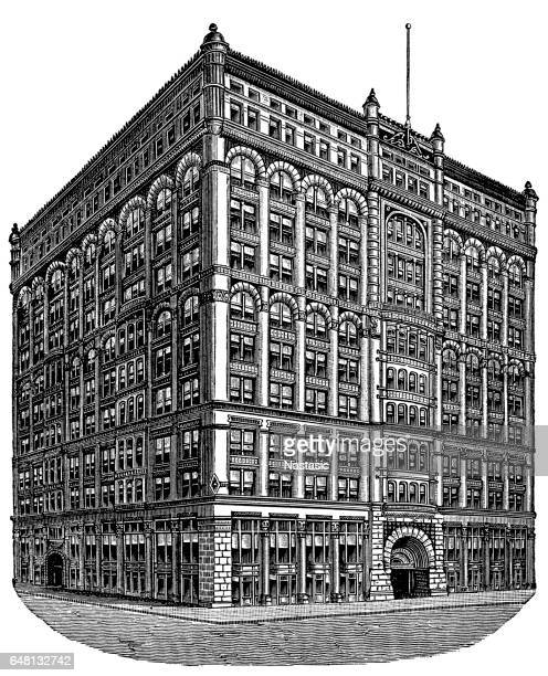 rookery building - rookery chicago stock illustrations