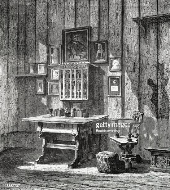 room luther in warburg in the 19th century from the 1873 book 'the earth and her people - protestantism stock illustrations