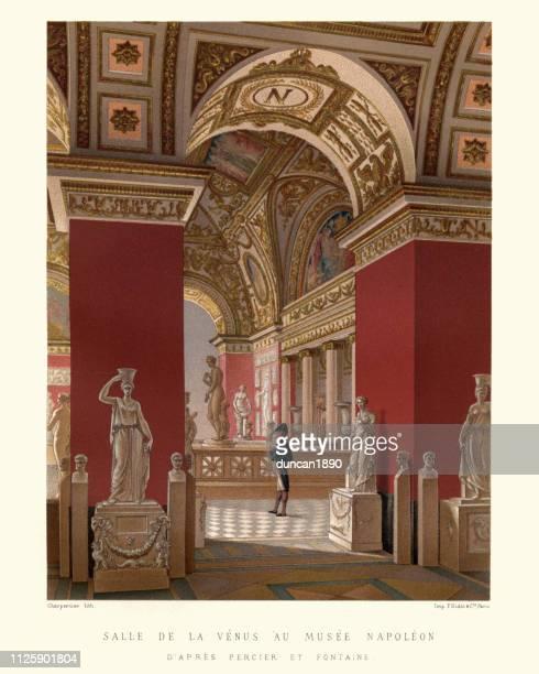room of the venus at the napoleon museum, france 18th century - venus roman goddess stock illustrations, clip art, cartoons, & icons