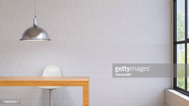 room with lamp, table and chair, 3d rendering - brick stock illustrations