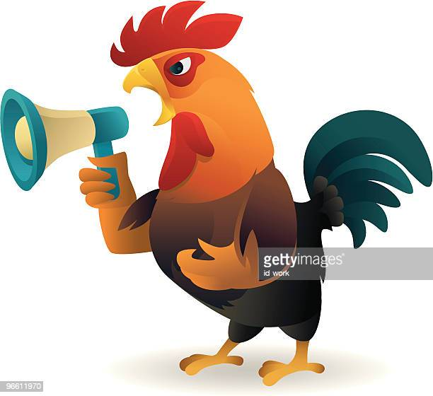 rooster crowing - animal call stock illustrations