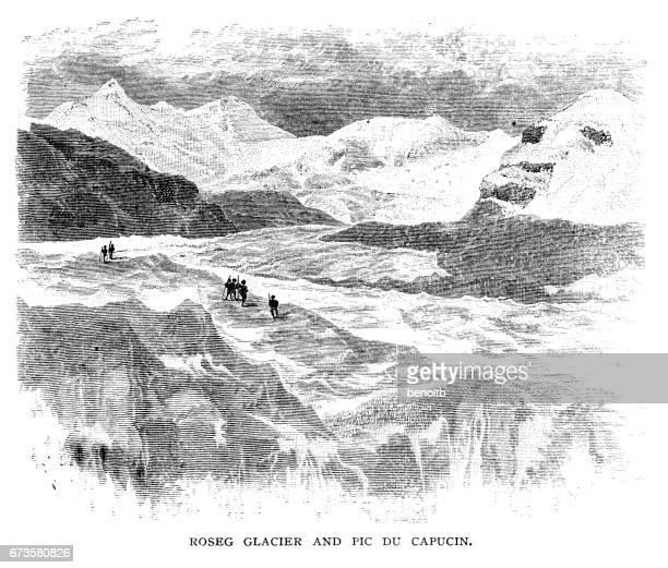 Roseg Glacier and Pic du Capucin