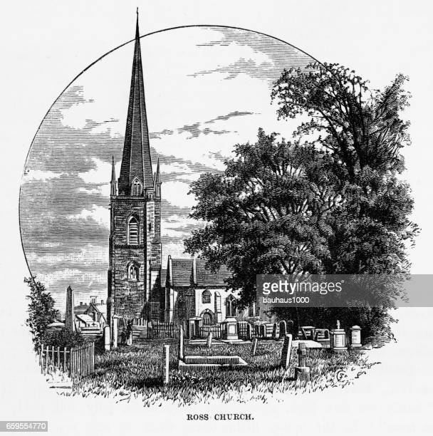 ross church in ross-on-wye, herefordshire, england victorian engraving, 1840 - spire stock illustrations, clip art, cartoons, & icons