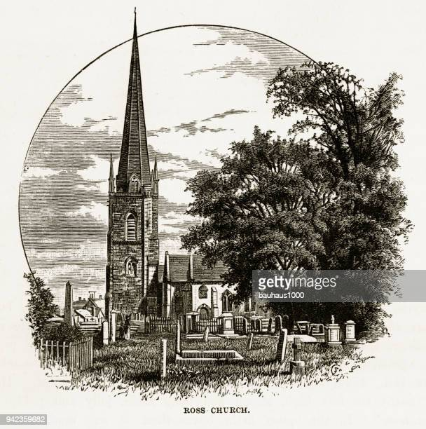 ross church in ross-on-wye, herefordshire, england victorian engraving, 1840 - steeple stock illustrations, clip art, cartoons, & icons