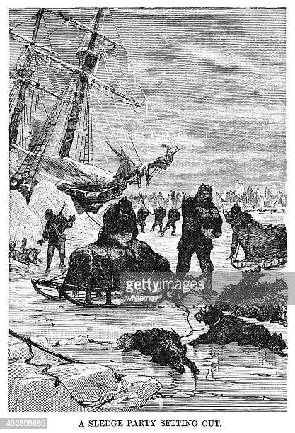 ross's expedition to the arctic - sledge party setting out - pack of dogs stock illustrations
