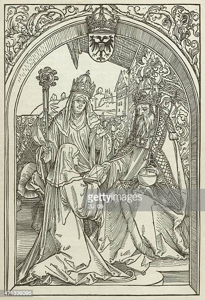 roswitha (c.938-later 973), by albrecht dürer, wood engraving, published 1880 - circa 10th century stock illustrations