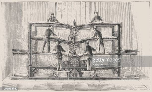 rotary printing press for six feeders by hippolyte marinoni auguste - obsolete stock illustrations
