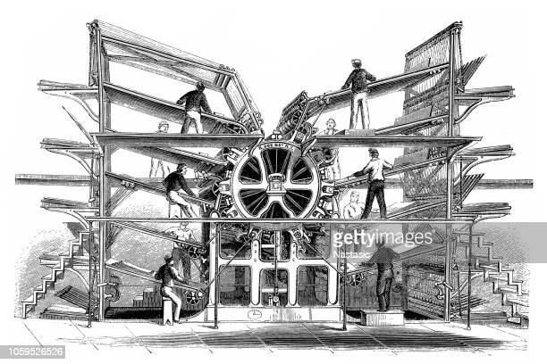 rotary printing press, invented by richard march hoe (1812 1886) - industrial revolution stock illustrations