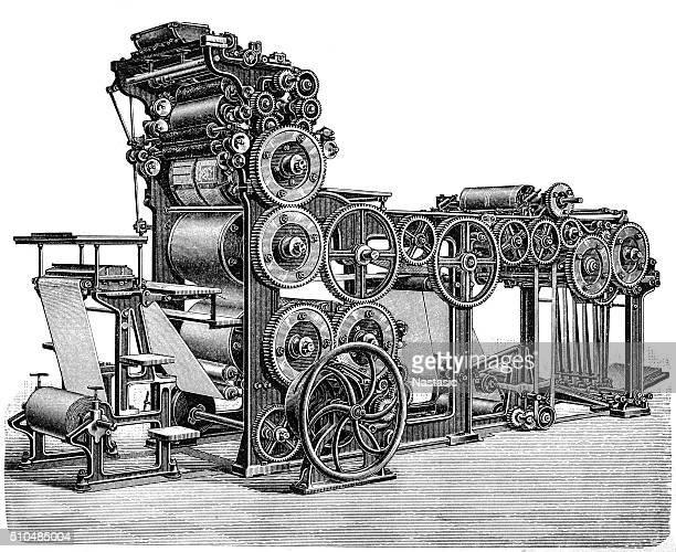 rotatory fast printing press - printing press stock illustrations