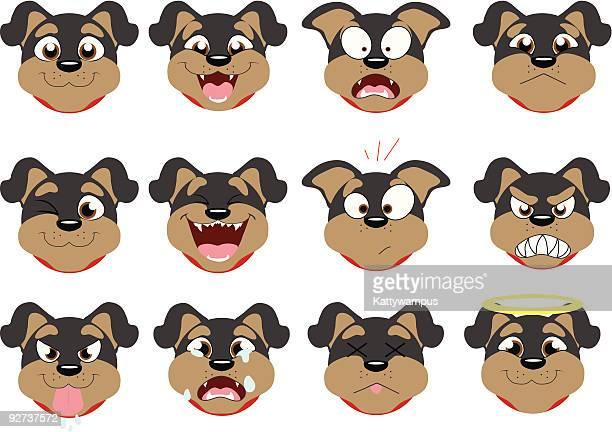 rottweiler emoticons - snarling stock illustrations