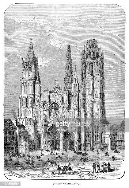 rouen cathedral - rouen stock illustrations, clip art, cartoons, & icons