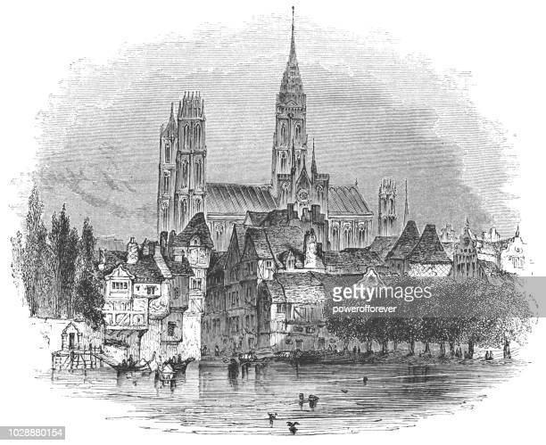 rouen in normandy, france - rouen stock illustrations, clip art, cartoons, & icons