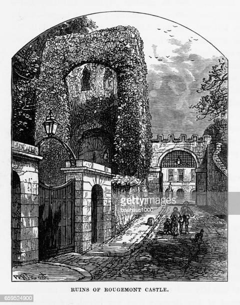 Rougemont Castle Ruins in Exeter, Devon, England Victorian Engraving, 1840