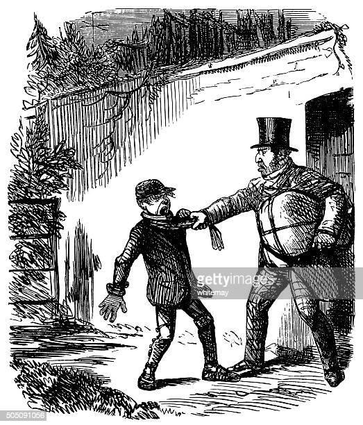 ilustraciones, imágenes clip art, dibujos animados e iconos de stock de hombre de estilo victoriano violento que desee un niño por la bufanda - maltrato infantil