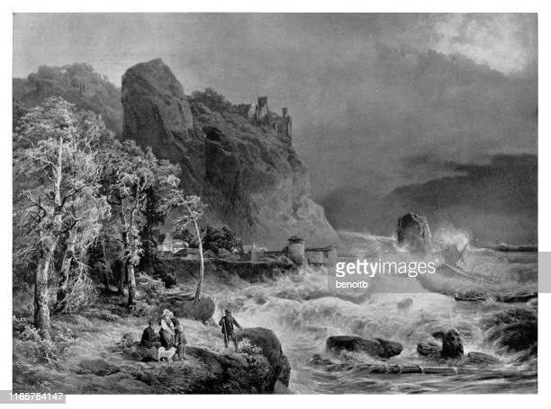 rough seas on the ireland coast - classical stock illustrations