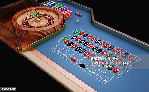 Roulette table and wheel, illustration