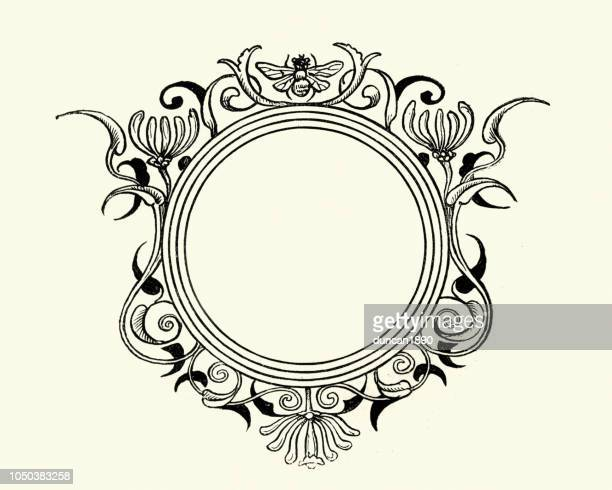 Round floral and bee design element frame