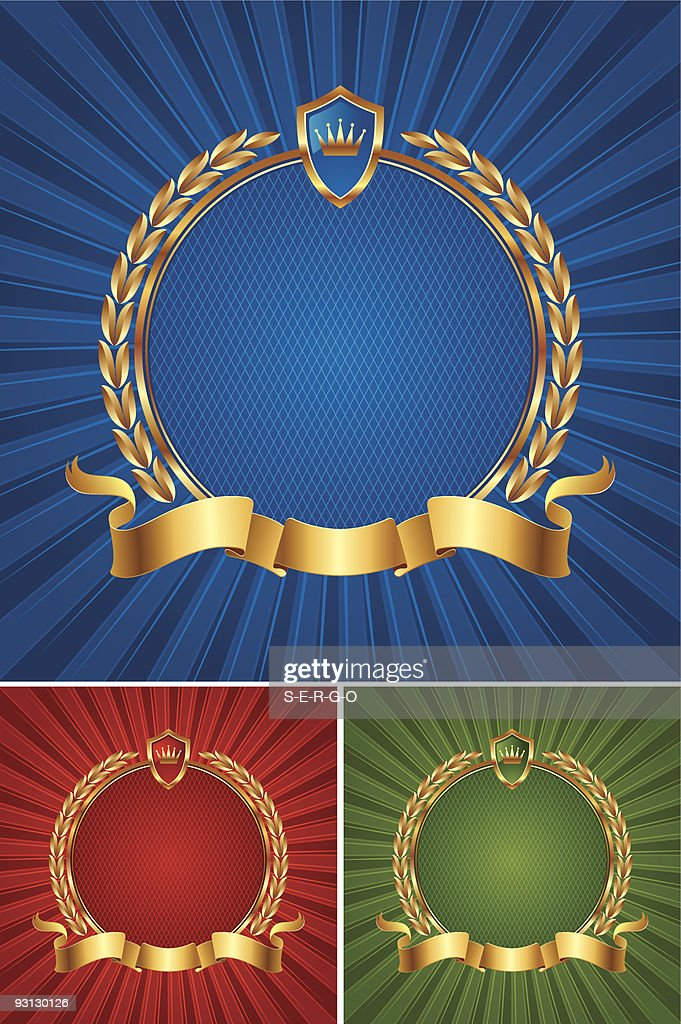 Round golden frame with ribbon and wreath