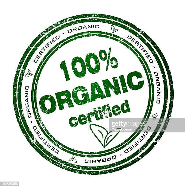 round green stamp certificate for 100% organic products - grunge image technique stock illustrations