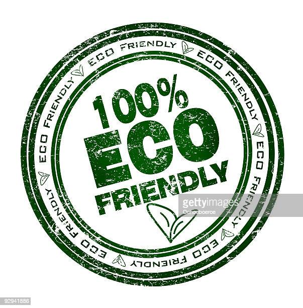 round stamp for 100% eco friendly in green - grunge image technique stock illustrations