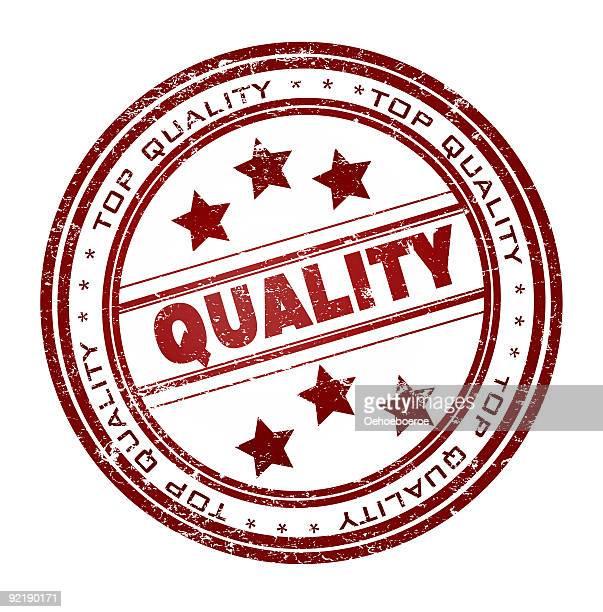 illustrazioni stock, clip art, cartoni animati e icone di tendenza di rotondo timbro con testo: la qualità - qualità