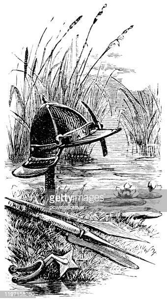 roundhead helmet and weapons - 17th century - army helmet stock illustrations