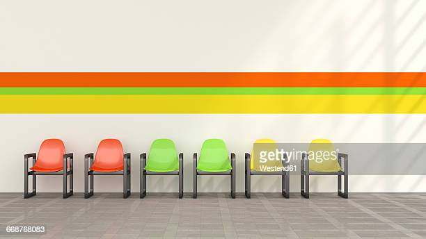 Row of coloured chairs in waiting room, 3D Rendering