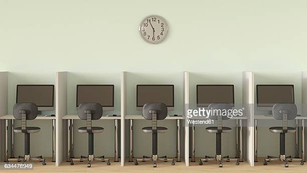 row of computer workplaces - no people stock illustrations