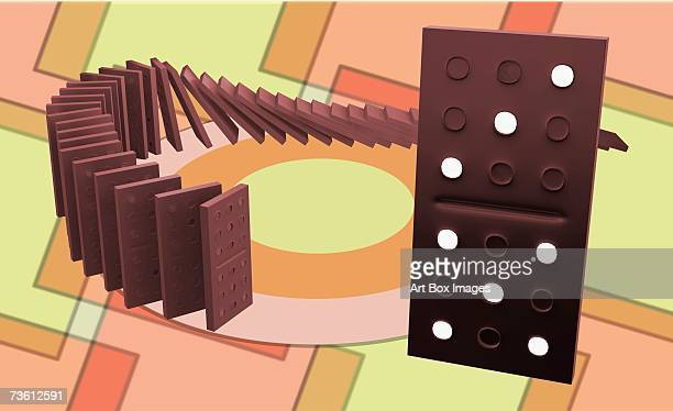 row of dominoes falling - domino effect stock illustrations