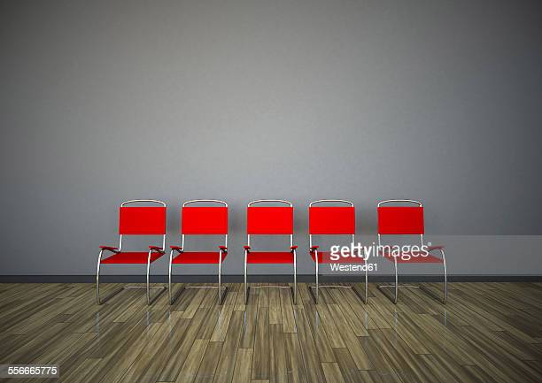 row of five red chairs in front of a grey wall, 3d rendering - in a row stock illustrations