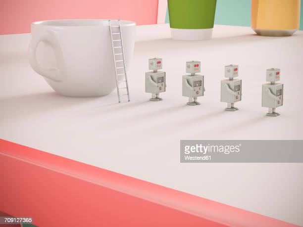 Row of four miniature robots on tabletop, 3D Rendering
