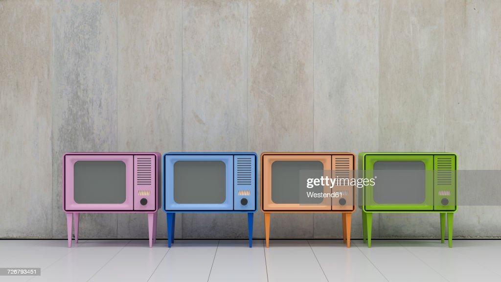 row of four televisions in retro style stock illustration getty images