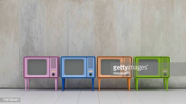 row of four televisions in retro style - four objects stock illustrations