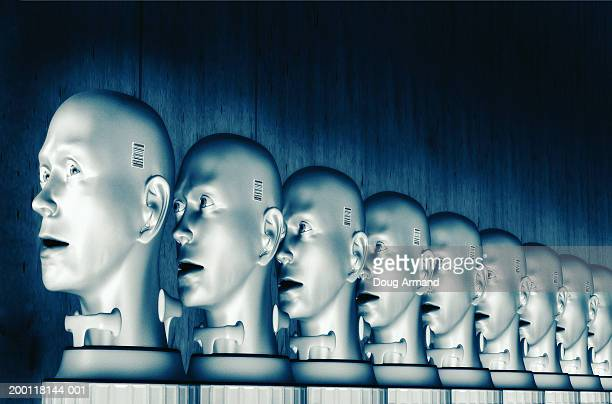 row of human heads facing forwards, one looking to side (digital) - cloning stock illustrations