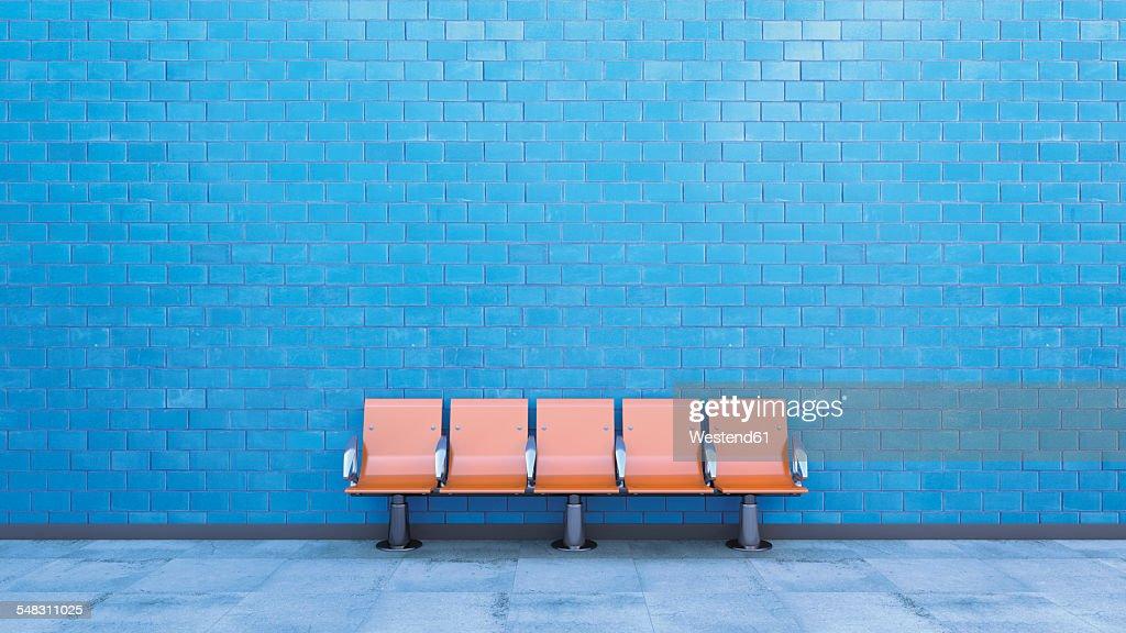 Row of seats at underground station platform, 3D Rendering : Illustrazione stock