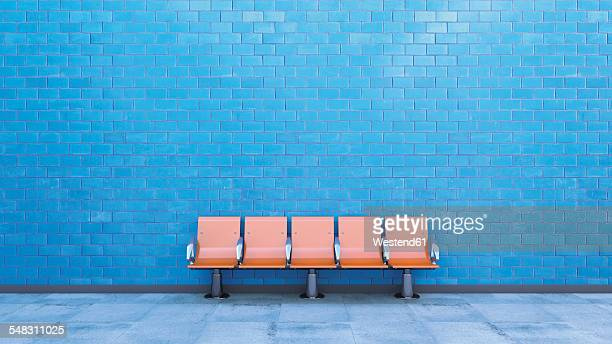 stockillustraties, clipart, cartoons en iconen met row of seats at underground station platform, 3d rendering - zonder mensen