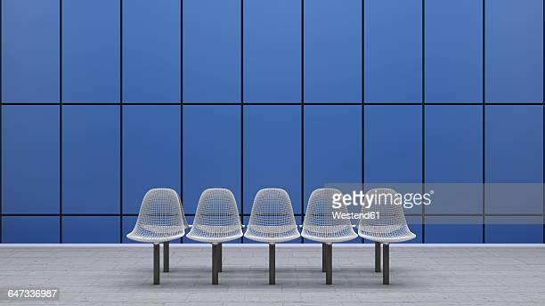 Row of seats at underground station platform, 3D Rendering