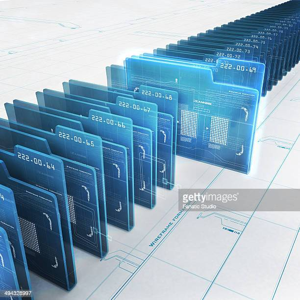 Row of virtual folders with data inside